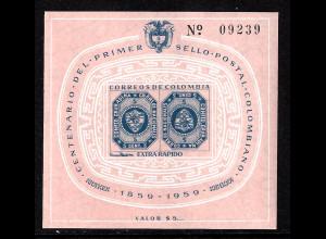 Kolumbien: 1959, Blockausgabe 100 Jahre Briefmarken