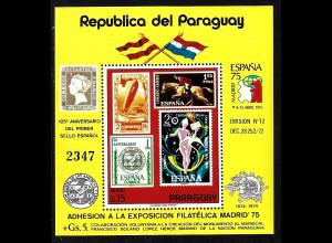 Paraguay: 1975, Blockausgabe Briefmarkenausstellung ESPANA (Motiv Briefmarke auf Briefmarke)