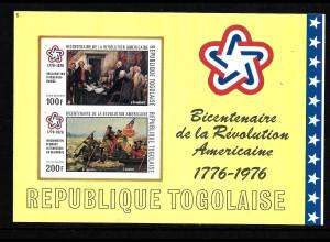Togo: 1976, Blockausgabe 200 Jahre USA (ungezähnt, Motiv Gemälde)