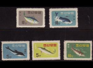 Nordkorea: 1961, Fische und Wale (ohne Gummi verausgabt)
