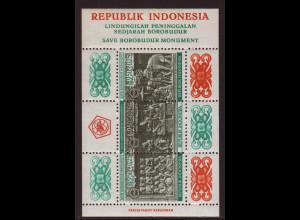 Indonesien: 1968, Blockausgabe Heiligtum Borobudur