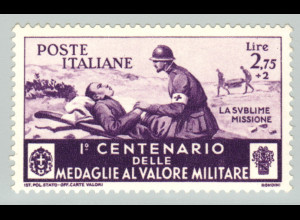 Italien: 1934, Tapferkeitsmedaille 2,75 L. (postfrischer Höchstwert)