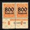 """1923, 800 Tsd. Mk. auf 30 Pfg.; Abart: """"Null der Urmarke nicht schraffiert"""";"""