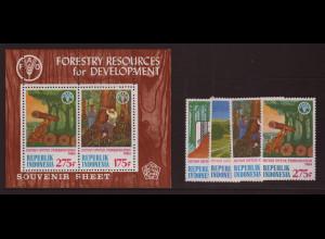 Indonesien: 1984, Forstwirtschaft (Satz und Blockausgabe)