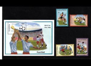 Uganda: 1990, Fußball-WM Italien (Spielszenen, Satz und Blockausgabe)