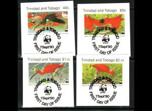 Trinidad und Tobago: 1990, Rotsichler (WWF-Ausgabe, Briefstücke mit Esst)