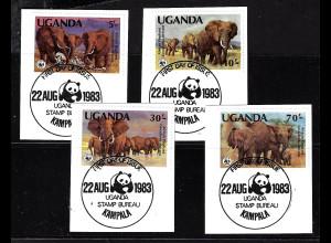 Uganda: 1983, Elefanten (WWF-Ausgabe, Briefstücke mit Esst)