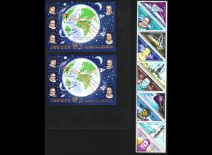 Jordanien: 1964, Bemannte Raumfahrt (Zehnerblock und Blockpaar)