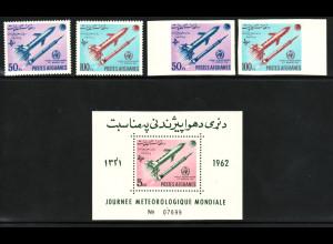 Afghanistan: 1962, Meteorologische Raketen (gez. und ungezähnt sowie Blockausgabe)
