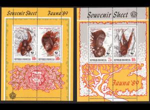 Indonesien: 1989, Blockpaar Orang-Utan (frühe WWF-Ausgabe)
