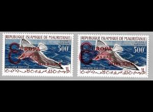 Mauretanien: 1962, Überdruckausgabe Weltbank in beiden Typen (frankaturungültige Marken, Motiv Vögel, M€ 60,-)