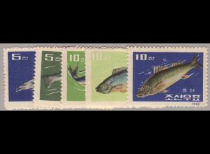 Nordkorea: 1962, Fische (ohne Gummi verausgabt)
