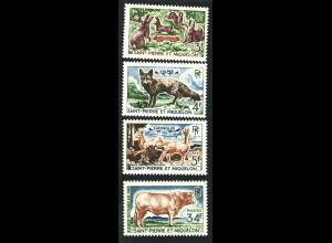 St. Pierre und Miquelon: 1964, Freimarken Tiere