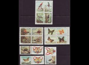 Kuba: 1961, Weihnachten (Motiv: Schnecken, Vögel und Schmetterlinge, nominalgleiche Marken in Viererblöcken)