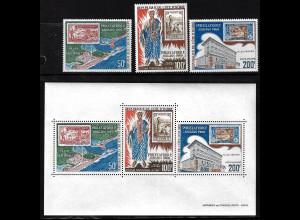 Elfenbeinküste: 1969, Briefmarkenausstellung Philexafrique (Motiv Marke auf Marke, Satz und Blockausgabe)