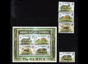 Gambia: 1976, Tiere (frühe WWF-Ausgabe, Satz und Blockausgabe, M€ 230,-)