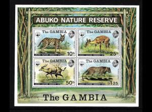 Gambia: 1976, Blockausgabe Tiere (frühe WWF-Ausgabe, M€ 130,-)