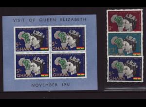 Ghana: 1961, Besuch von Königin Elisabeth II. (Satz und Blockausgabe)