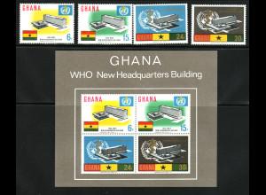 Ghana: 1966, Weltgesundheitsorganisation WHO (Satz und Blockausgabe)