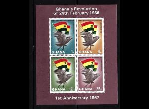 Ghana: 1967, Blockausgabe ungezähnt Februar-Revolution (Motiv Greifvögel und Flaggen)
