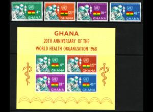 Ghana: 1968, Weltgesundheitsorganisation WHO (Satz und Blockausgabe)