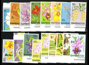 Barbados: 1974/77, Freimarken Orchideen (mit Ergänzungswerten)