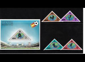 Kenia: 1982, Fußball WM Spanien (Motiv:Fußballspieler, Satz und Blockausgabe)