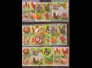 Burundi: 1973, Schmetterlinge und Blumen (48 Werte in Viererblockanordnung, dabei Kat.-Nr. 978 leichte Gummianhaftung)