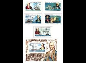 Madagaskar: 1975, Alte Segelschiffe (200 Jahre USA; Satz und Blockausgabe)