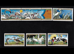 Senegal: 1974, Vögel aus dem Djoudj-Park (mit Dreierstreifen)