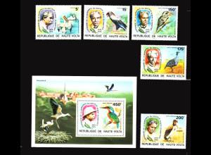 Obervolta: 1975, Albert Schweitzer (Satz und Blockausgabe, Motiv: Vögel und Nobelpreis)