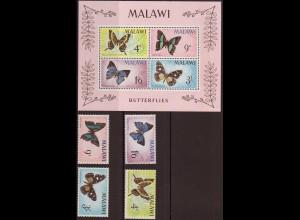 Malawi: 1966, Schmetterlinge (Satz und Blockausgabe)