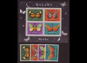 Malawi: 1970, Nachtfalter (Satz und Blockausgabe)