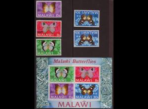 Malawi: 1973, Schmetterlinge (Satz mit Kat.-Nr. 198 in beiden Typen sowie Blockausgabe)