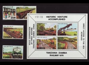 Sambia: 1976, Eisenbahn (Satz und Blockausgabe)