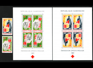 Gabun: 1967, Rotes Kreuz (Satz und Blockpaar)