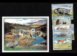 Lesotho: 1981, Bedrohte Tiere (Satz und Blockausgabe, frühe WWF-Ausgabe)
