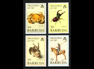 Antigua und Barbuda-Barbuda: 1971, unverausgabte Marken Albrecht-Dürer (Tiere, ehemals als Kat.-Nr. 103/06 geführt)
