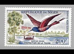 Niger: 1961, Freimarkenergänzungswert Vögel 200 Fr.