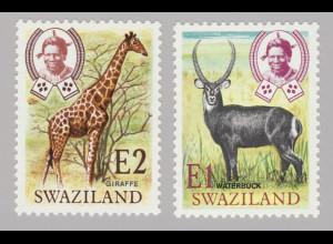 Swaziland: 1975, Freimarken Wildtiere (in neuer Währung)