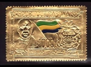 Gabun: 1968, Goldmarke Staatspräsident Léon M`Ba (auch Motiv Flaggen)