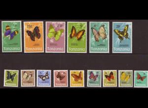 Tansania: 1973, Freimarken Schmetterlinge