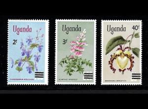 Uganda: 1969, Überdruckausgabe Einheimische Pflanzen