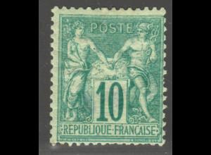 Frankreich: 1876, Allegorie 10 C. grün, seltene Marke mit kleinen Beanstandungen