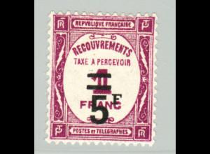 Frankreich: 1929, Portomarken 5 Fr. auf 1 Fr. (Höchstwert, M€ 120,-)