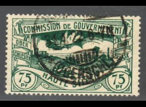 Oberschlesien: 1920, Freimarke 75 Pfg. sehr seltenen Farbe schwarzgrün