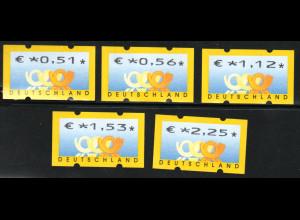 2002, Automatenmarken Posthorn Standardsatz 51, 56, 112, 153 und 225 C. (VS 2)