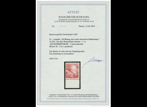 """1949, Bundestag 20 Pfg. mit Plattenfehler: """"kleines i in Bundesrepublik"""""""