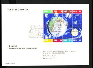 1962, Kleinbogen Weltraumflüge (Schmuckersttagsbrief, M€ 90,-)