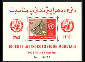 Afghanistan: 1963, Blockausgabe Meteorologische Raketen (gez. Einzelstück)